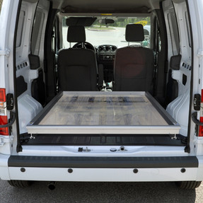 """Jotto-Cargo Slide 410-1300, fits Ford Transit Connect (2010-2013) Full Length, 800 lbs Capacity, 63"""" Length, 46"""" Width, Weighs 81 lbs,  Aluminum, with optional AlumaPlank Flooring system"""
