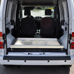 """Jotto-Cargo Slide 410-1301, fits Ford Transit Connect (2010-2013) Half Length, 800 lbs Capacity, 44"""" Length, 46"""" Width, Weighs 81 lbs, Aluminum, with optional AlumaPlank Flooring system"""