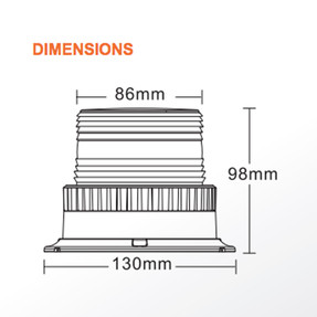 Brooking JB130L3-D0A Economy 3-Diode LED Beacon, 4x5, Choose Magnetic or Permanent Mount, Available in Amber