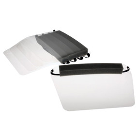 Paulson IDC/F Complete infectious disease control face shield assembly with elastic attachment and foam forehead cushion. Sold as a package of 5 in a re-sealable bag.