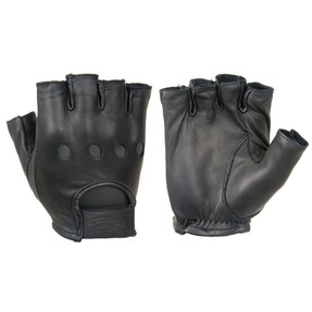 Damascus PREMIUM LEATHER HALF FINGER DRIVING GLOVES, Smooth premium quality aniline finished cowhide, With open knuckles and ventilation holes, Adjustable strap with embossed logo, Good for all year use in mild weather conditions