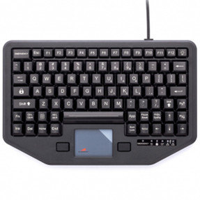 Gamber Johnson 7300-0084 iKey Full Travel Keyboard with Attachment Versatility, Green Back Lighting, Emergency Key, Integrated Touchpad, Mobile Mounting Holes, and Humidity Resistant