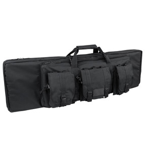 Condor 152 42-inch Tactical Double Rifle Case, Hide away and detachable padded backpack straps, Sternum strap, Removable padded internal divider, includes 3 modular pouches, available in Black, Olive Drab and Coyote Brown