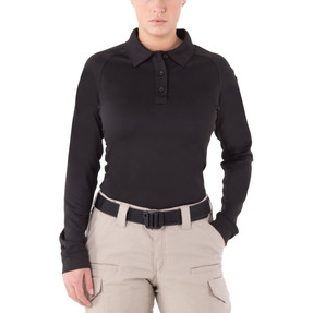 First Tactical 121503 Womens Performance Long Sleeve Polo, Uniform or Casual, Sternum Mic Loop, Shoulder Mic Loop, available Black, Khaki, OD Green, and Midnight Navy