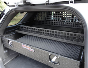 American Aluminum E/Z Single Drawer Weapons Storage Vault, Includes Top Basket, Fits SUVs, choose Aluminum Finish or Black Matte Powder Coat, includes Raised Mounting Hardware to Access Spare Tire
