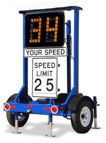 Stalker Speed Awareness Monitor (SAM) Radar Trailer, easily portable, includes Traffic Data Analyst, Hand-held controller, K-Band Doppler Radar, Amber LED Characters, 4D Deep Cycle 12-Volt Batteries, and Rugged trailer platform