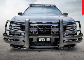 Westin Push Bar lite, Dodge Charger Pursuit 2011-2019, Brush Guard, Optional LED Warning Lights, Optional Pit Bar and Wing Wraps