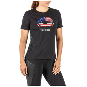 5.11 Tactical WOMEN'S TRUE LOVE, 50% Cotton, 50% Polyester, Premium inks that resist fading, 5.11® Centered logo
