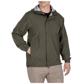 5.11 Tactical 48353 Duty Rain Shell Jacket, 100% Polyester, Elastic sleeve cuffs, Waterproof, Regular fit, available in Ranger Green, Black, Dark Navy, and Sheriff Green