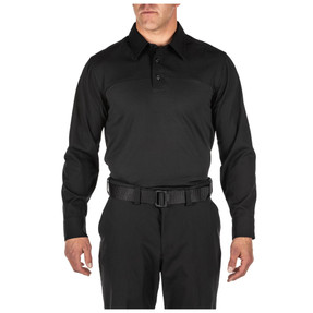 5.11 Tactical 72520 Class A Flex-Tac Rapid Long Sleeve Men's Polo Shirt with Badge Tab, 100% Polyester, Uniform/Casual, available in Black, Silver Tan, and Midnight Navy