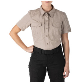 5.11 Tactical 61325 Women's STRYKE™ Short Sleeve Button-Down Shirt, Polyester/Cotton, 2 Chest Pockets, Badge Tab, Uniform/Casual, available in Khaki and TDU Green