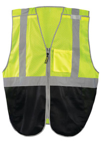 Occunomix LUX-GCBBK Black Bottom Break-Away Uniform Vest with 2 inch silver reflective tape, 1 chest pocket, Yellow