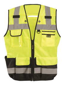 Occunomix LUX-HDSBK Heavy Duty Black Bottom Surveyor Uniform Vest with 2 inch silver reflective tape, 2 chest pockets, Yellow