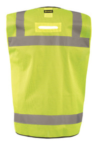 Occunomix LUX-LTGCSBK Black Bottom Surveyor Vest with 2 inch silver reflective tape, 2 chest pockets, available in Yellow and Orange