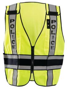 """Occunomix LUX-DPSP-DOR DOR Deluxe Safety """"POLICE"""" Uniform Vest with 2 inch silver reflective tape, 2 Mic Tabs and Badge Holder, Adjustable Waist, Yellow"""