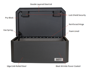 BOSS StrongBox 7417 Universal Vehicle Storage and Organizer Unit Box, Top Loader for gear and equipment, 26.5x16x10, includes foam lining