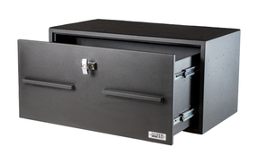 BOSS StrongBox 7421CRS Large Universal Vehicle Storage Unit Box with Pull Out Drawer, T-Handle Lock, 40x22x20, includes carpeted top and foam lining