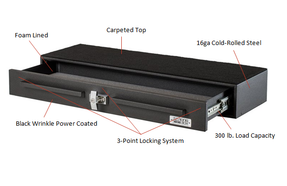 BOSS StrongBox 7126-7654 Pull Out Drawer Gun Safe goes Under the Rear Seat of Trucks, T-Handle Lock, Storage Unit for Rifles, Shotguns, Pistols, Mags, 54x13x5.75, includes carpeted top and foam lining