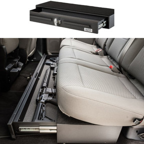 BOSS StrongBox 7126-7640 Pull Out Drawer Gun Safe goes Under the Rear Seat of Trucks, T-Handle Lock, Storage Unit for Rifles, Shotguns, Pistols, Mags, 40x13x5.75, includes carpeted top and foam lining
