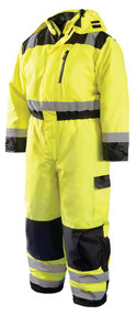 Occunomix LUX-WCVL High Visibility Winter Uniform Coverall with 2 inch reflective tape, Detachable Hood, Waterproof, Yellow