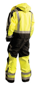 Occunomix SP-CVL SP Workwear Premium Cold Weather Uniform Coverall with 2 inch silver reflective tape, Adjustable Cuffs, Detachable Hood, Waterproof, 2 Chest Pockets, Yellow