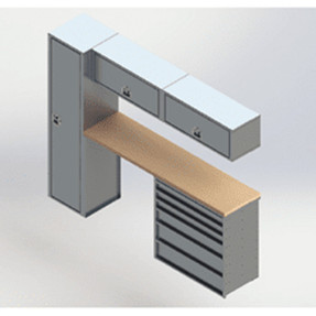 EZ-STAK 1151637 Mobile Workspace Systems for Vans & Trailers, includes two shelving units, locker, drawer, counter top, and two chest units
