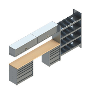 EZ-STAK 1151638 Mobile Workspace Systems for Vans & Trailers, includes two chest units, countertop with two underslug drawers, shelving unit, locker unit, and etracks