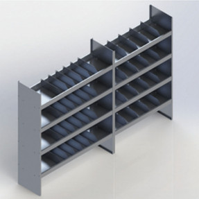 EZ-STAK 1151639 Mobile Workspace Systems for Vans & Trailers, includes two shelving units, locker, and a drawer with wood top