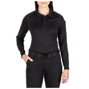 5.11 Tactical 62408 Women Performance Long Sleeve Polo, Uniform or Casual, 100% Polyester, No roll collar, available in Black and Dark Navy Blue