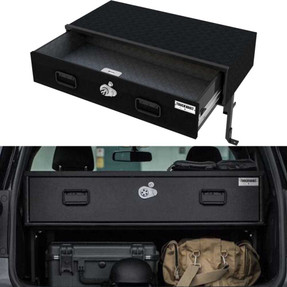 TruckVault Universal SUV Elevated Series Drawer Storage Unit, 1 Drawer, Choose 6-10 inches Height, Includes Combo Lock and Dividers (2 Short & 2 Long), Carpeted Interior and Top, Still Access Spare Tire, Optional Foam and Rubber Mat