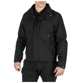 5.11 Tactical 48360 5-IN-1 Jacket 2.0, Uniform or Casual, 100% Polyester, 100% Nylon, Waterproof, 2 Chest Pockets, Adjustable Cuffs, Regular and Tall Length, available in Black and Dark Navy Blue