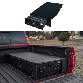 TruckVault Half-Width Universal Pickup Truck All-Weather Series Storage System Drawer, Choose 6-10 inches Height, Includes Folding T-Handle Compression Keyed Lock, Dividers (2 Short & 2 Long), LINE-X Sprayed Coating, Weatherproof