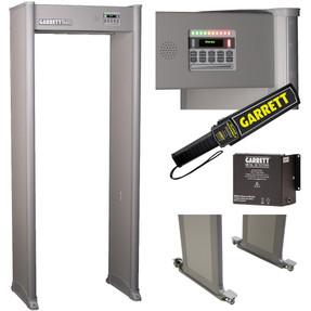 Garrett K-12 School Package includes MZ-6100 Walk-Through Metal Detector, Hand-Held Super-Scanner V, Backup Battery, Caster Set for Easy Mobility, 3 Year Warranty