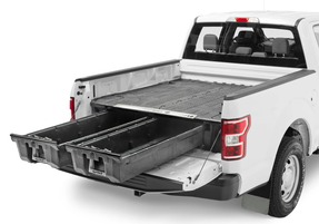 Decked Pickup Truck Weatherproof Storage System with 2 Sliding Drawers, FULL-SIZE, 2000 lb payload, easy install with minor or no drilling, fits Ford Raptor, F-150, Super Duty; GMC & Chevy Silverado, Sierra; Dodge Ram; Toyota Tundra; Nissan Titan