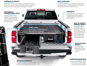 Decked Pickup Truck Weatherproof Storage System with 2 Sliding Drawers, MID-SIZE, 2000 lb payload, easy installation with minor or no drilling, fits Ford Ranger; GMC Canyon; Chevy Colorado; Jeep Gladiator; Toyota Tacoma; Nissan Frontier