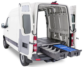 Decked Cargo Van Storage System with 2 Sliding Drawers, FULL-SIZE, 2000 lb payload, easy install with minor or no drilling, fits Ford Transit, Econoline; Chevy Express; GMC Savanna; Nissan NV; RAM Promaster; Mercedes Benz (All Sprinters)