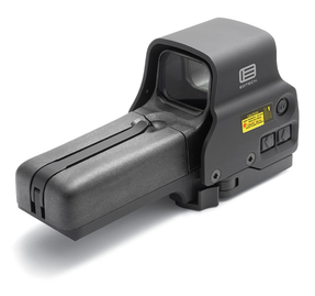 EOTech 518.A65 Holographic Weapon Sight, AA battery; QD mount, units with buttons located on left side of unit; reticle pattern with 68 MOA ring & 1 MOA dot