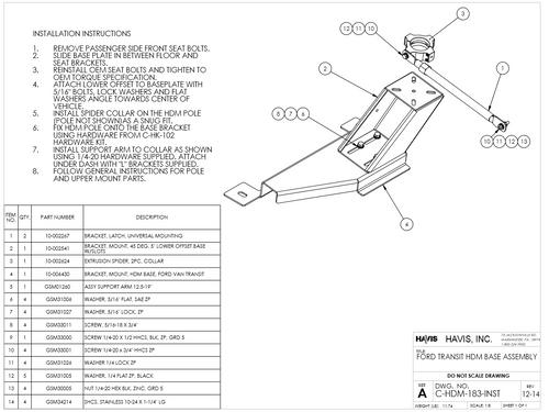 Havis (Ford Transit, 2015-2019) Laptop, Tablet, Keyboard Stand, Package,  Kit, Heavy-duty Part # PKG-PSM-383