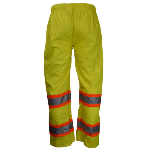 Neese 9220ET Elastic Waist High Visibility Uniform Trouser, 2 inch Silver Reflective Tape Trimmed in Orange, Lightweight Waterproof, Windproof, and Stretchable Material, Lime Color
