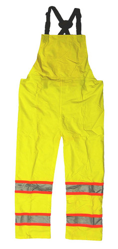 Neese 9220BT High Visibility Bib Trousers, 2 inch Silver Reflective Tape Trimmed in Orange, Lightweight Waterproof, Windproof, and Stretchable Material, Lime Color