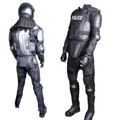 Onyx Robo Tech Full Riot Gear Body Armor Kit for Law Enforcement, Includes Gloves, Helmet, Face Shield, Carry Bag, Optional 20 x 36 inch Hand-Held Shield and Baton, One Size Fits Most, Customizable fit with buckles and Velcro straps