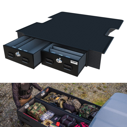 TruckVault Covered Pickup Truck Bed Storage System with 2 Drawers, Choose 6-10 inches Height, Combo Locks, Dividers (2 Short & 2 Long)