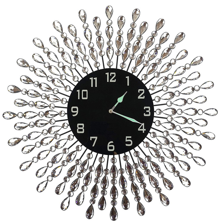 """23.5"""" Crystal Drop Metal Wall Clock, Black Glass Dial 9.50"""" with Arabic Numerals"""