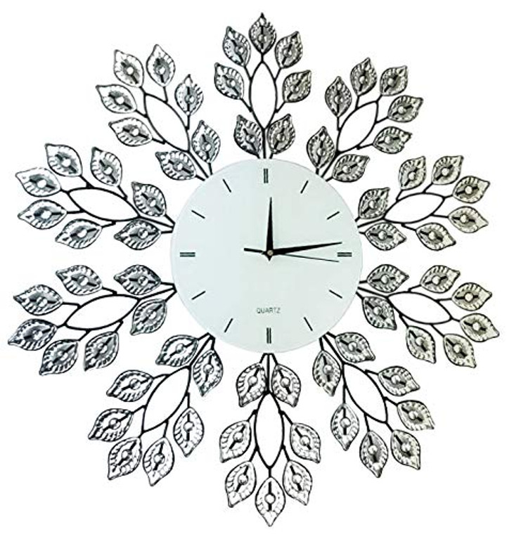 "25"" Leaf Metal Wall Clock with 9"" White Glass Line Dial"