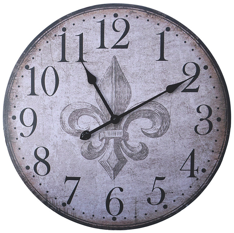 """23.50"""" French Country Style Rustic Round Wood Wall Clock with Large Arabic Numerals"""