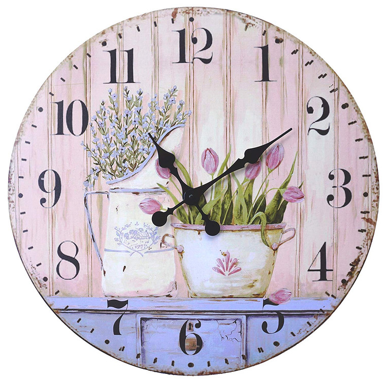 """French Rustic Round Wood Wall Clock 23"""" (Tulip)"""