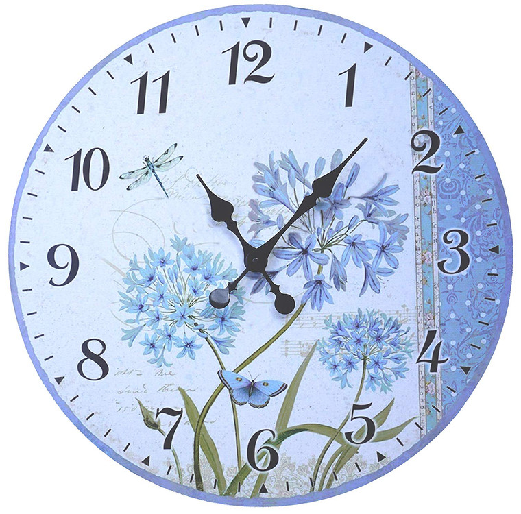 """French Rustic Round Wood Wall Clock 23"""" (Azure)"""