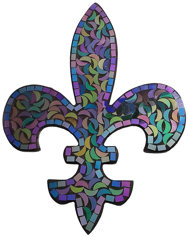 Fleur de Lis Decor, Mosaic Wall Decorative Plaque, Perfect for Housewarming Gift (Aqua Scale)