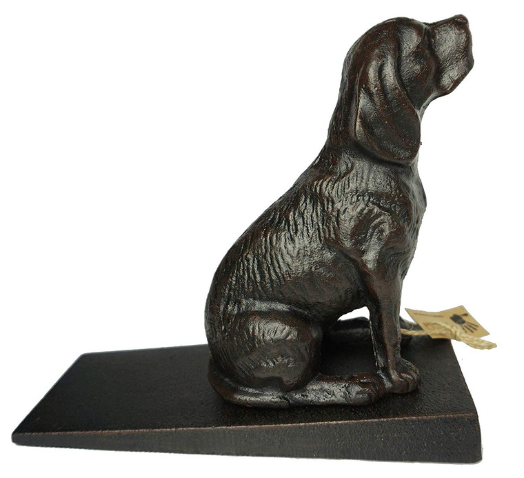 """Cast Iron Heavy Duty 6 lbs 8 oz Dog Door Stopper with Base, Measures 7"""" H, 3.5"""" W and 8.25"""" L, Cute, Good Looking Dog"""