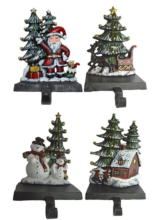 100% Cast Iron Christmas Stocking Holder, Set of 4 hooks, Sleigh with deer, Santa with gifts, House with kids & Snowman with christmas tree (House)